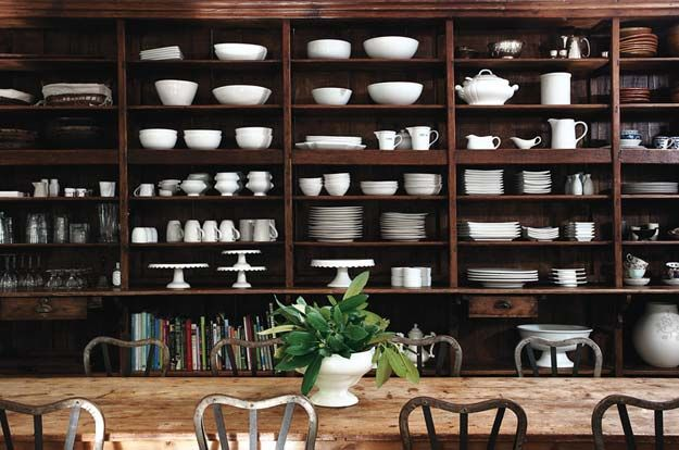 dishes for days: Dark Kitchens, Dining Room, Open Shelves, Design Ideas, Interiors Design, Dark Wood, White Dishes, Rustic Wood, Kitchens Storage
