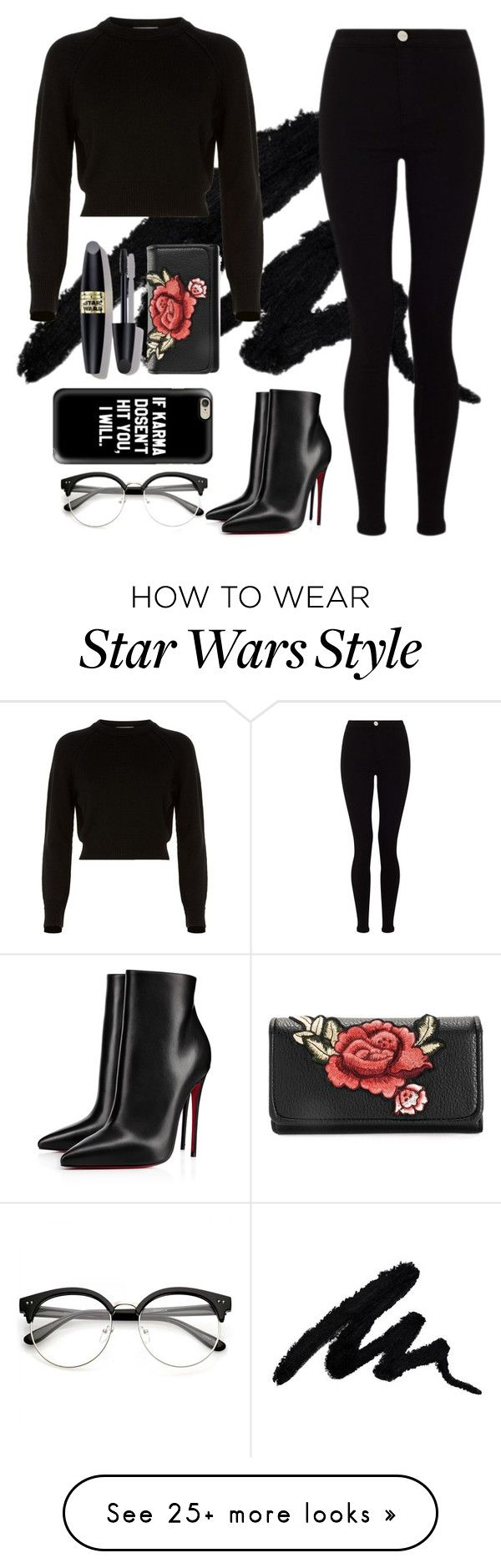 """Black"" by cicilov on Polyvore featuring Helmut Lang, Lipsy, Christian Louboutin, Max Factor and allblackoutfit"