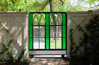 Reinvent It: An Eclectic Texas Garden Grows From Creative Salvaging, stain glass gate <3