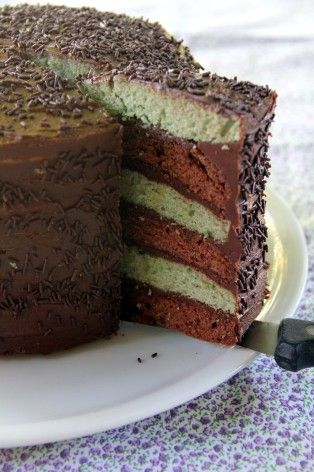 Layer cake pistache & chocolat
