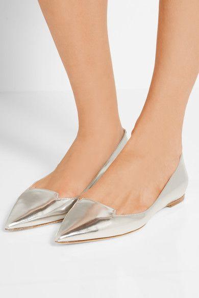Jimmy Choo - Attila Mirrored-leather Point-toe Flats - Silver - IT