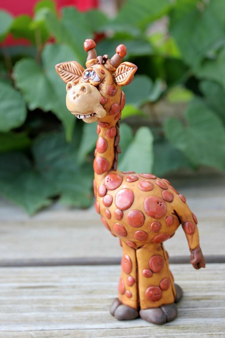Giraffe Polymer Clay Sculpture by MirandasCritters
