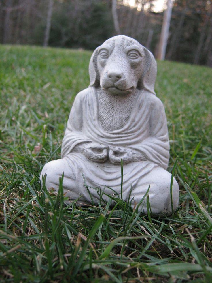 Buddha Dogs, Meditating Pet Dog, Cement Dog, Small