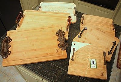 Tutorial for attaching drawer pulls to cheap cutting boards or meat carving boards from Ross or Marshalls.  Great gift for the holidays.
