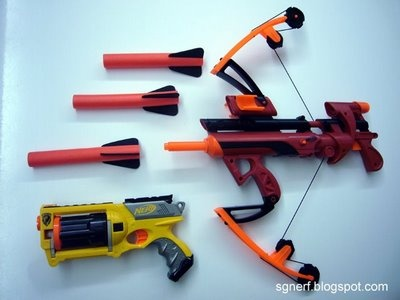 Nerf Bow and Arrow.... Think i need since id prob kill myself with a real one lol