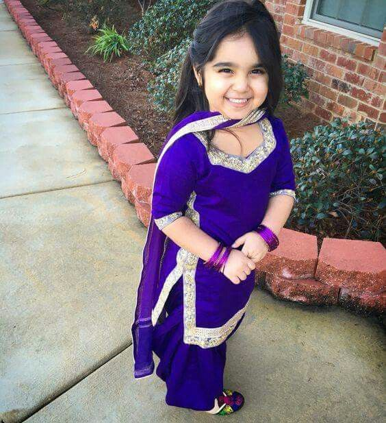 #purple salwar kameez_bangles_kids wear_cute smile :)