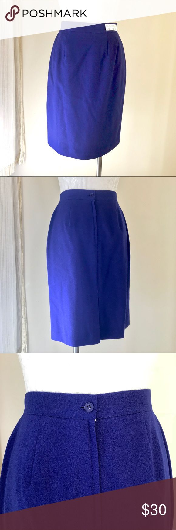 """Valerie Stevens Petites blue wool pencil skirt Valerie Stevens Petites blue wool pencil skirt  New with tags NWT  Bright cobalt/royal blue pencil skirt. Fully lined, lightweight wool.   Marked size 10P  Waist 27.5""""  More measurements available on request.  See my closet for matching coat (6P)! I'm happy to discount when bundled together. This listing is for the skirt only. Valerie Stevens Skirts Pencil"""