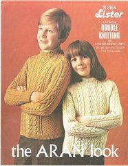 Lister 2164 childrens aran jumper vintage knitting pattern