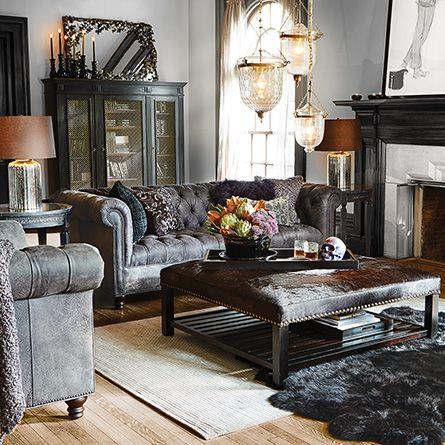 "Berwick 88"" Leather Tufted Sofa in Bull Grey"