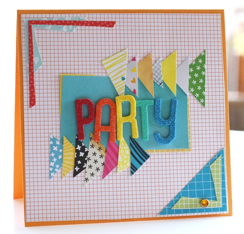Party card - by Corrie Jones using products from American Crafts. #Thickers #amytangerine #cardstock #cardmaking #party: Crafts Thickers, Birthday Cards, Corrie Jones, Scrap, Cardstock Cardmaking, Craft Ideas, Cardmaking Party, American Crafts
