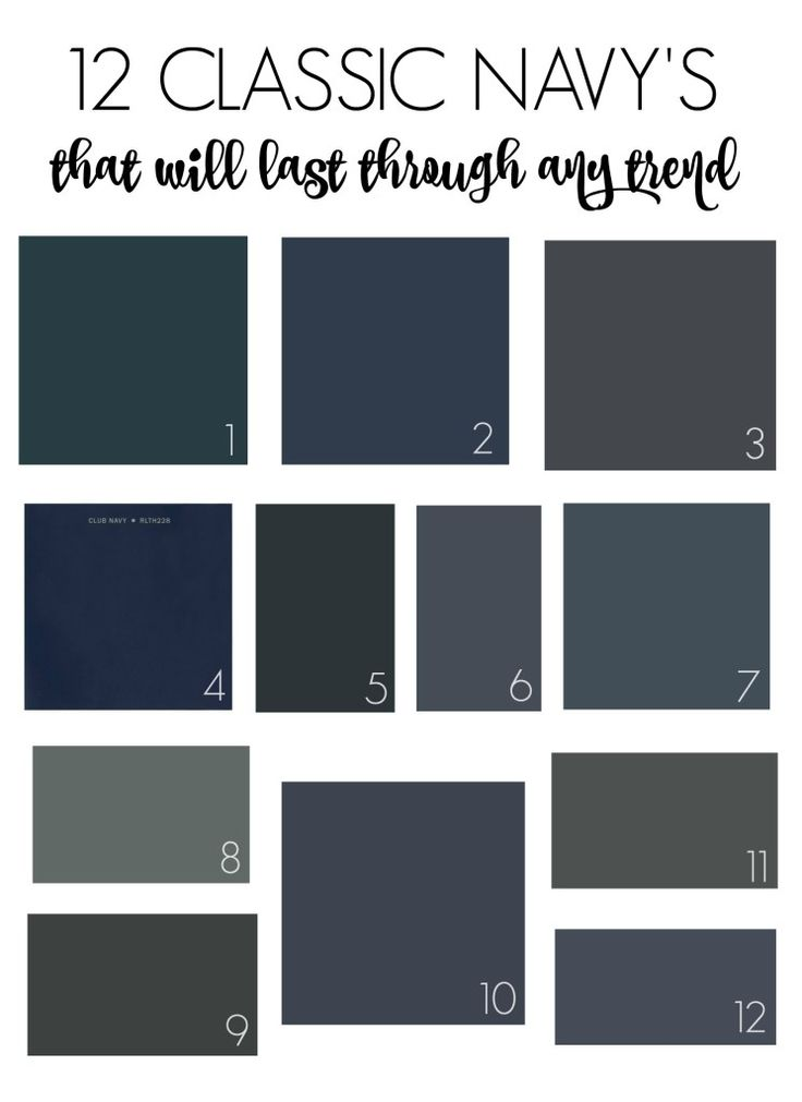 12 Classic Navy's That Will Outlast Any Trend1. Sherwin Williams-Dark Night 2. Sherwin Williams-Naval 3. Sherwin Williams-Cyberspace 4. Ralph Lauren-Club Navy  5. Farrow & Ball-Hague Blue 6. Benjamin Moore-Mysterious 7. Benjamin Moore-Hale Navy 8. Benjamin Moore-Stormy Sky 9. Benjamin Moore -Black Panther 10. Sherwin Williams-Charcoal Blue 11. Behr-Evening Hush 12. Benjamin Moore- Evening Sky