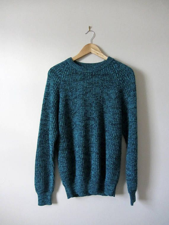 80s Speckled Acrylic Teal and Black Knitted Unisex Sweater