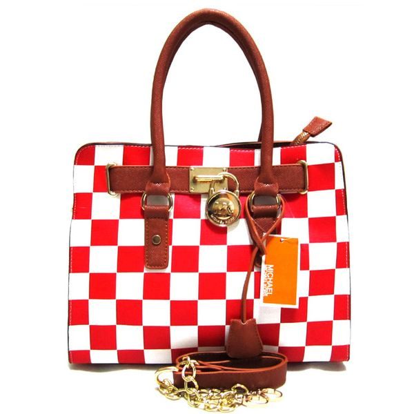 Michael Kors Outlet Hamilton Checkerboard Medium Red Totes -Michael Kors factory outlet online sale now up to 80% off!