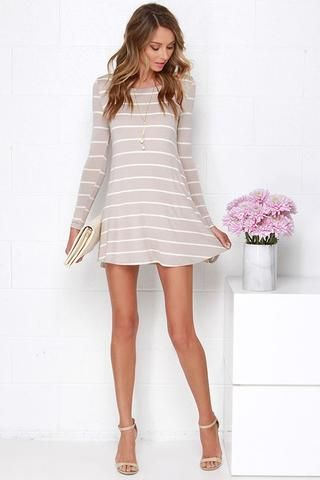2017 Lose Long Sleeves Stripe Short Dress