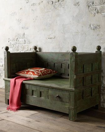 indian antique bench...   Buy natural #gemstones online at mystichue.com