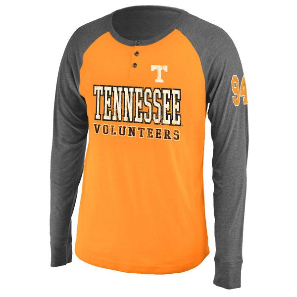 Tennessee Volunteers Colosseum Spotter Lightweight Long Sleeve Henley T-Shirt - Tennessee Orange/ Heather Gray - $22.99