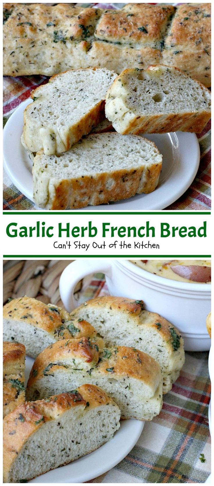 Garlic Herb French Bread | Can't Stay Out of the Kitchen | This is the best homemade #frenchbread you'll ever eat! Filled with all kinds of herbs and garlic, this bread is a great side for anything #Italian. #bread