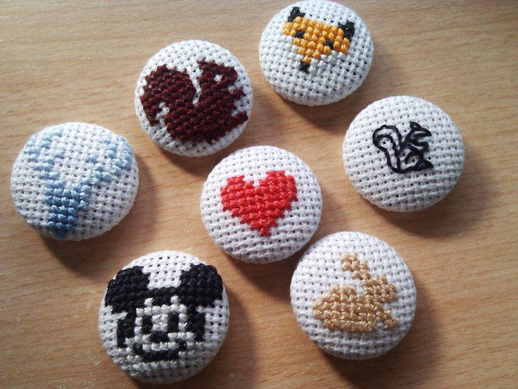 Cross stitch buttons #heart #squirrel #deer #mickeymouse #fox #rabbit