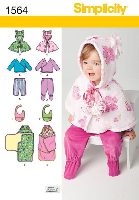 Simplicity Pattern 1564A Xxs-Xs-S-M-Babies Sportswear