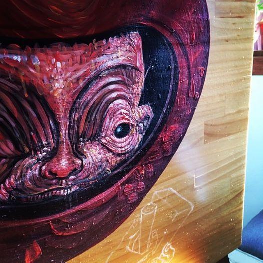 """Proceso mesa """"La Tomatera""""  Este es el proceso de la mesa ilustrada por nuestro amigo Willington Giraldo (#forest1982) en la tomatera, ésta es su versión del tomatero de la canción de salsa """"El Tomatero de Kim de los Santos"""" — en La Tomatera galería cafe. https://www.facebook.com/latomateragaleria"""