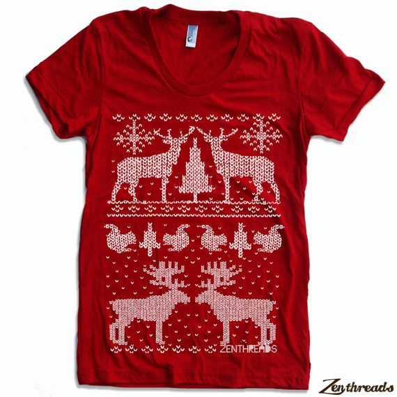 Womens CHRISTMAS Sweater Print  t-shirt american apparel S M L XL (16 Colors Available)