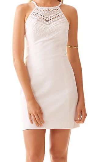 Lilly Pulitzer Pearl Lace Neck Shift Dress in Resort White- the perfect white summer dress