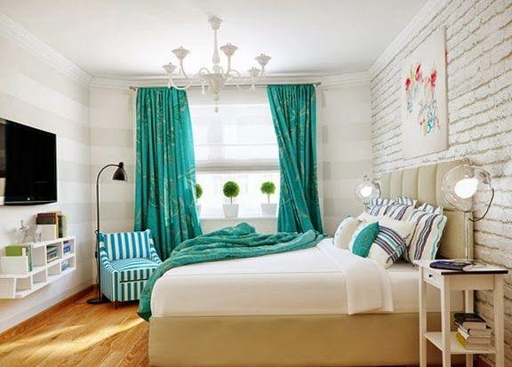 Dormitorio matrimonial turquesa blanco