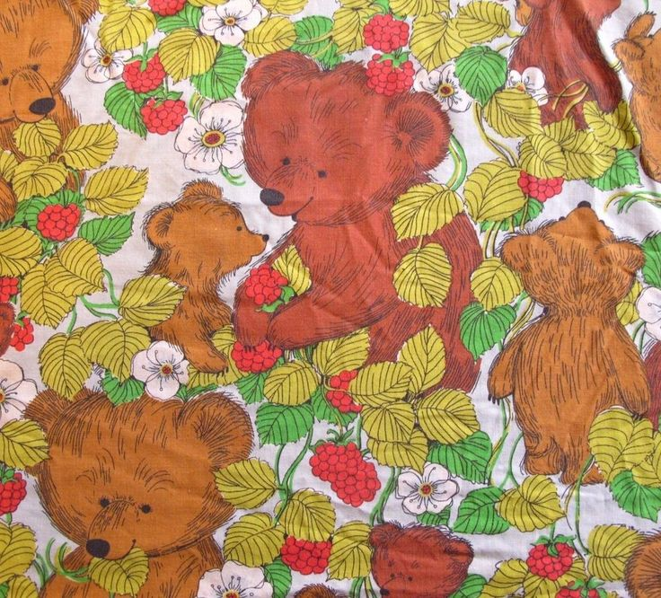 Vintage Sears Bear Cub Rasberry Twin Size Bed Sheet Perma Prest Fabric Material #Sears