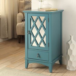 Acme Furniture Ceara Teal Mirrored Accent Storage Table