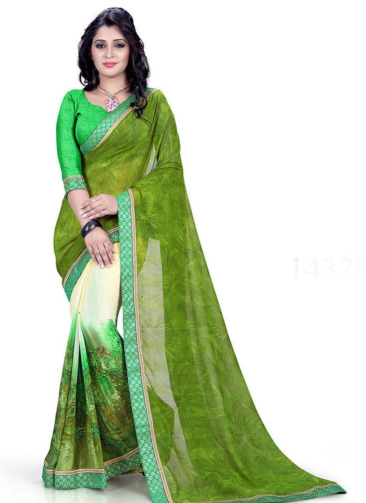 #Green,#Cream Marble #Georgette #Printed #Saree #nikvik  #usa #designer #australia #canada #freeshipping #dress #saris
