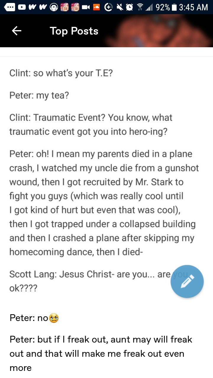 Spider-man And The Avengers One-Shots - idk what to call you (part