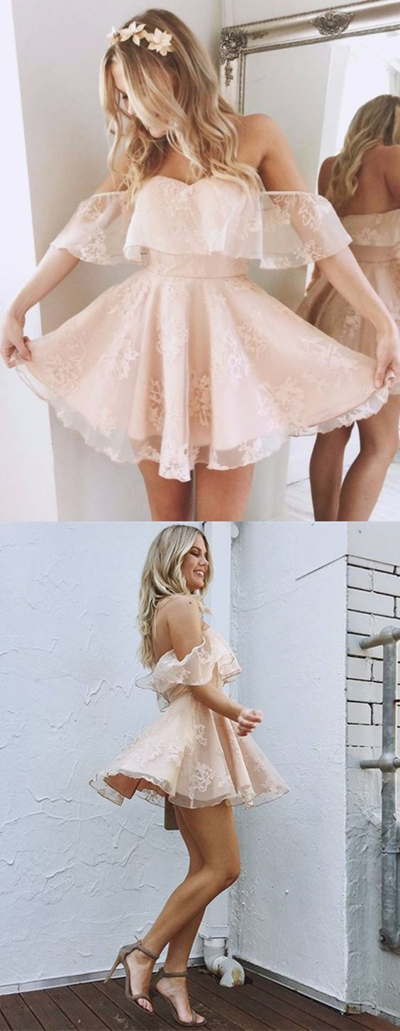 A-Line Off-the-Shoulder Short Homecoming Dress,Pearl Pink Homecoming Dresses