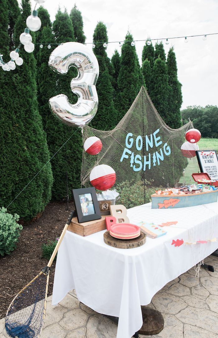 Fishing party table from a Gone Fishing Birthday Party on Kara's Party Ideas | KarasPartyIdeas.com (14)