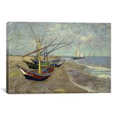 Wayfair - Fishing Boats on the Beach at Les Saintes Maries de la Mer by Vincent van Gogh Painting Print on Canvas