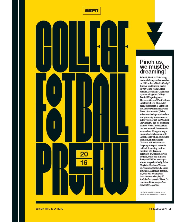 ESPN The Magazine / College Football Preview Custom typography by…