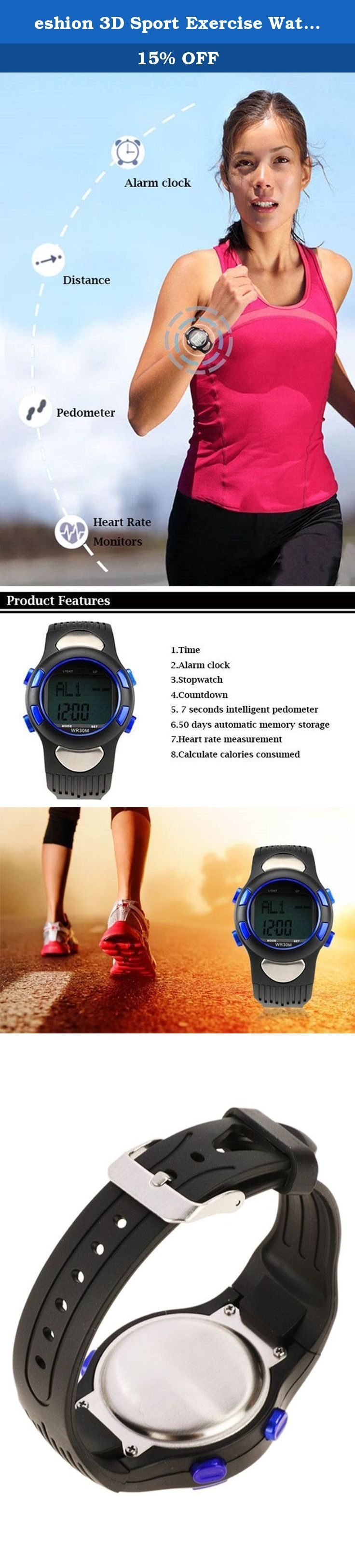 eshion 3D Sport Exercise Watch Pulse Heart Rate Monitor Pedometer Calories Counter. Features: Dial material: Tempered Glass Shell Material: Metal, Plastic Band material: Rubber Color: Blue Type: Sport watch Shape: Round Display: Digital Gender: Unisex Feature: Easy to operate Design: Multifunctional design Age group of application: Adult Backlight: EL or LED LCD display time and date Heart rate measuring range: 30 to 200 50 days automatic memory storage step function Modes: Time mode…