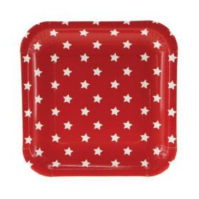 Red with White Stars Square Plates Pkt 12(($))