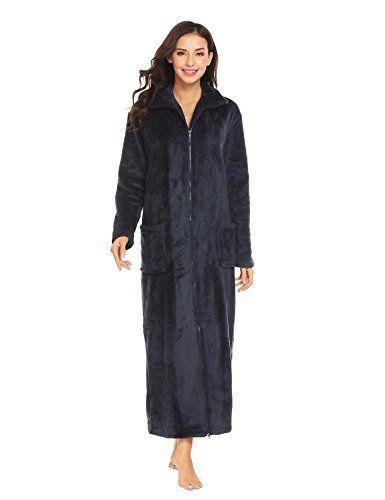 Ekouaer Women s Flannel Robe Zipper Front Robes Full Length Bathrobe(S-XXL) 371a622b1