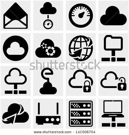 Server, internet, network vector icon set on gray. by Alina Ku-Ku, via Shutterstock