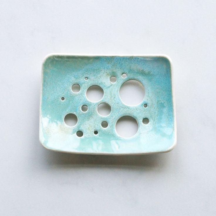 Aqua glaze bubble holes soap dish by VanillaKiln