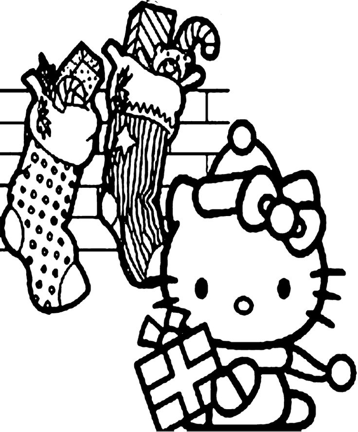Hello Kitty Many Gift In The Christmas Coloring Page