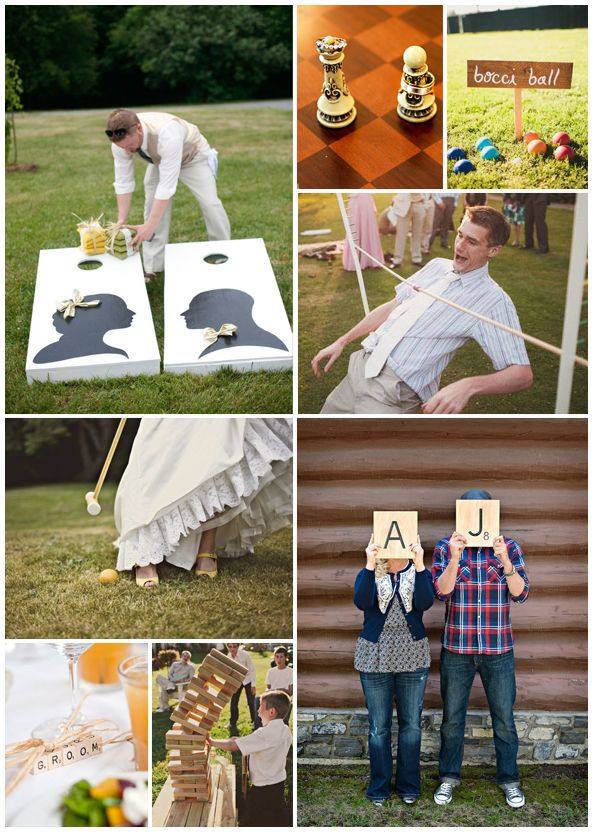 Board game themed wedding - scrabble, chess games, also limbo, bocci ball and croquet!