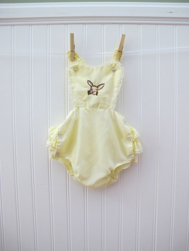Romper Vintage Baby Clothes Yellow With Ruffles And