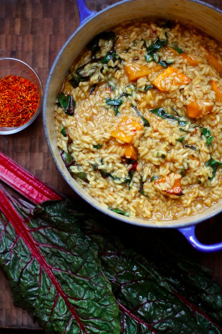 Saffron butternut squash risotto is a perfect winter dish (this recipe is vegan, but substitutions can be made).