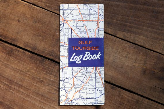 Gulf Tourguide Log Book Map Vintage Map Gas by CaffeinatedSquirrel