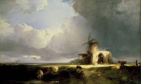 Henry Bright, Remains of St Benedict's Abbey on the Norfolk Marshes - Thunderstorm clearing off 1847