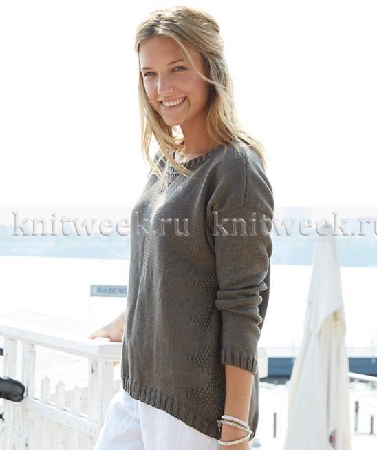 Пуловер спицами в спортивном стиле
