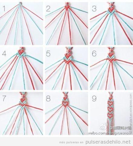 Tutorial paso a paso, cómo hacer una pulsera de nudos con formas corazón