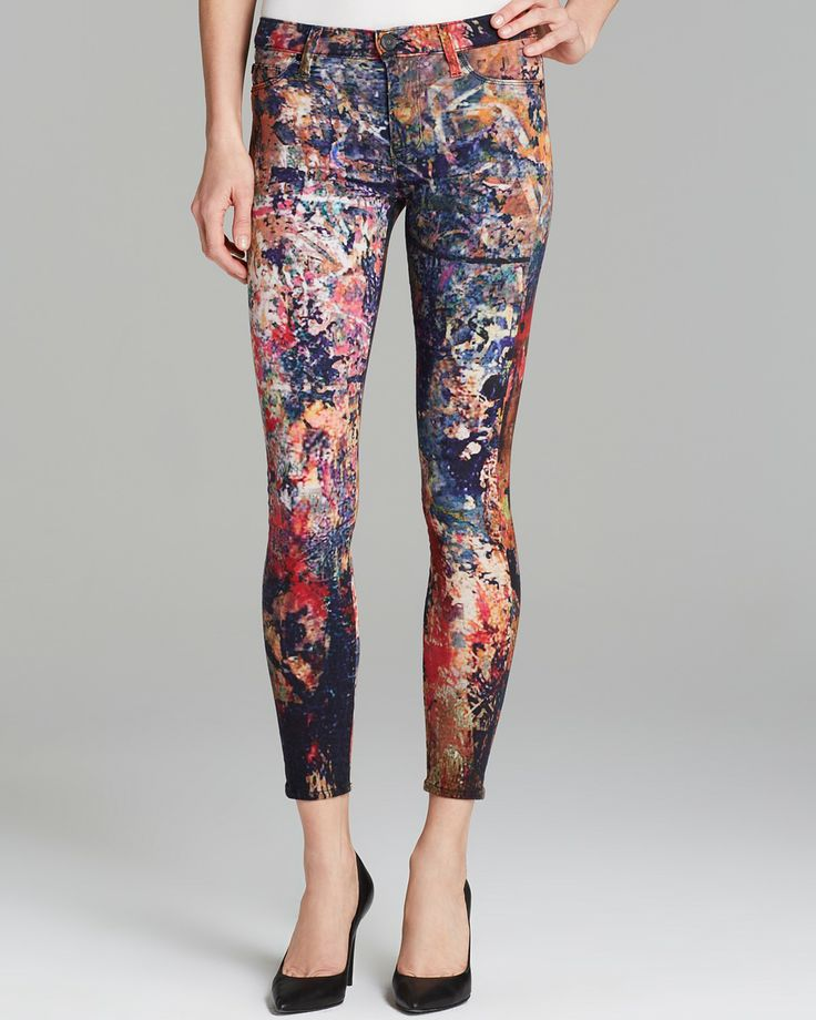 Nico Super Skinny Paint Splatter Jeans