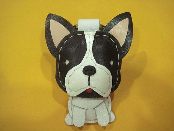 Leather Keychain Nico the French Bull Dog by leatherprince, $21.90